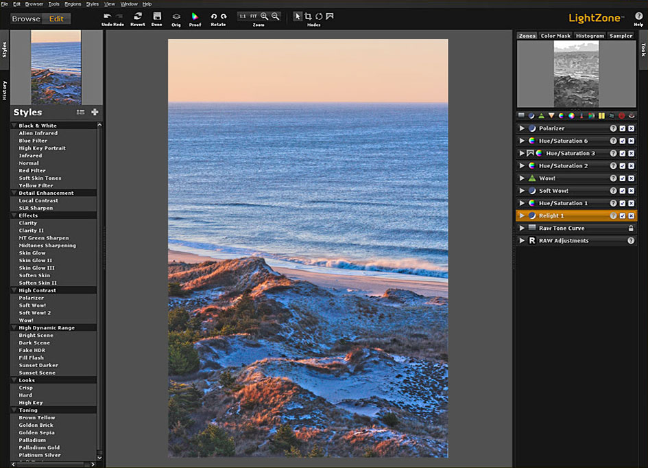 LightZone 3.5 Interface showing the stacked filters