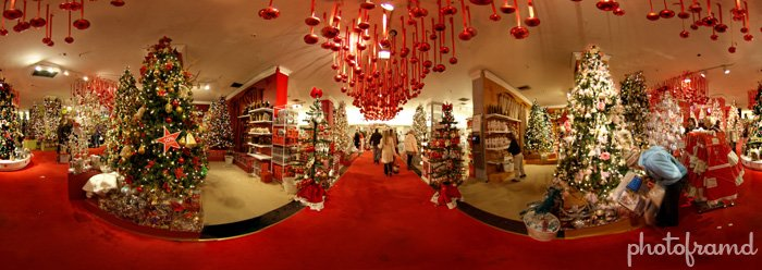 macys herald square holiday lane in 360 degree panorama