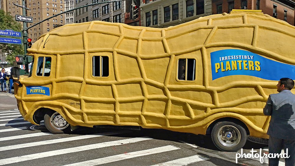 chasing a giant peanut in nyc planters nutmobile